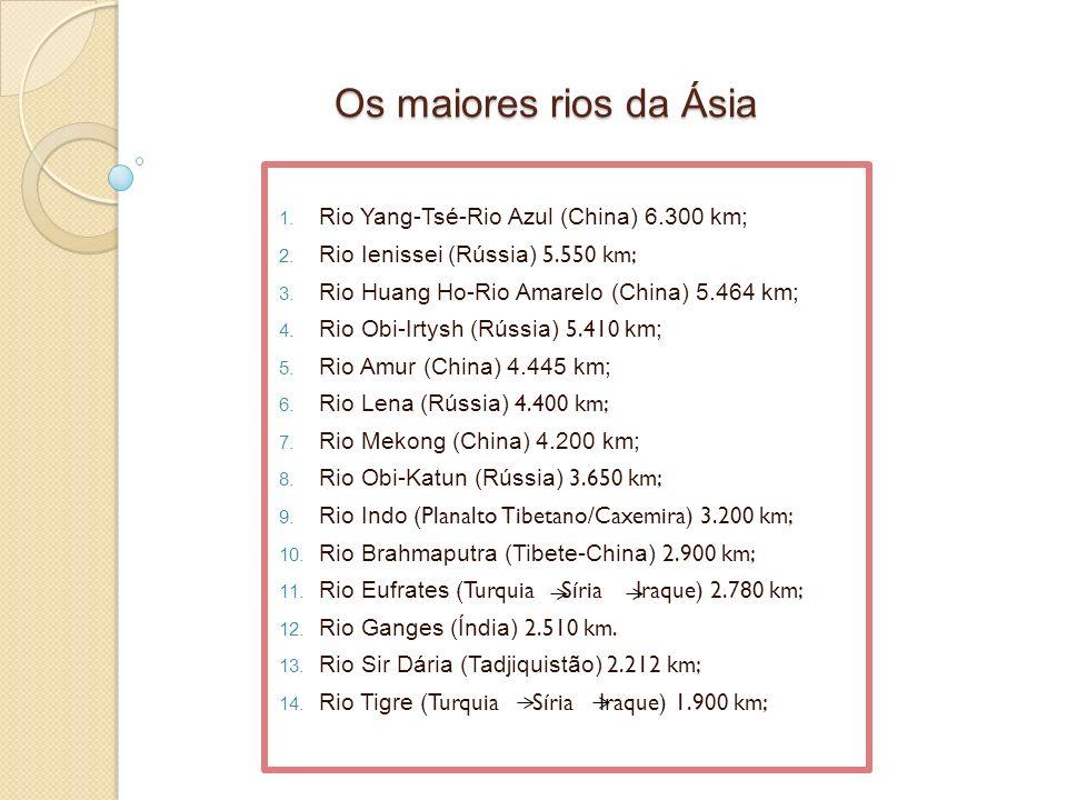 Os maiores rios da Ásia Rio Yang-Tsé-Rio Azul (China) 6.300 km;
