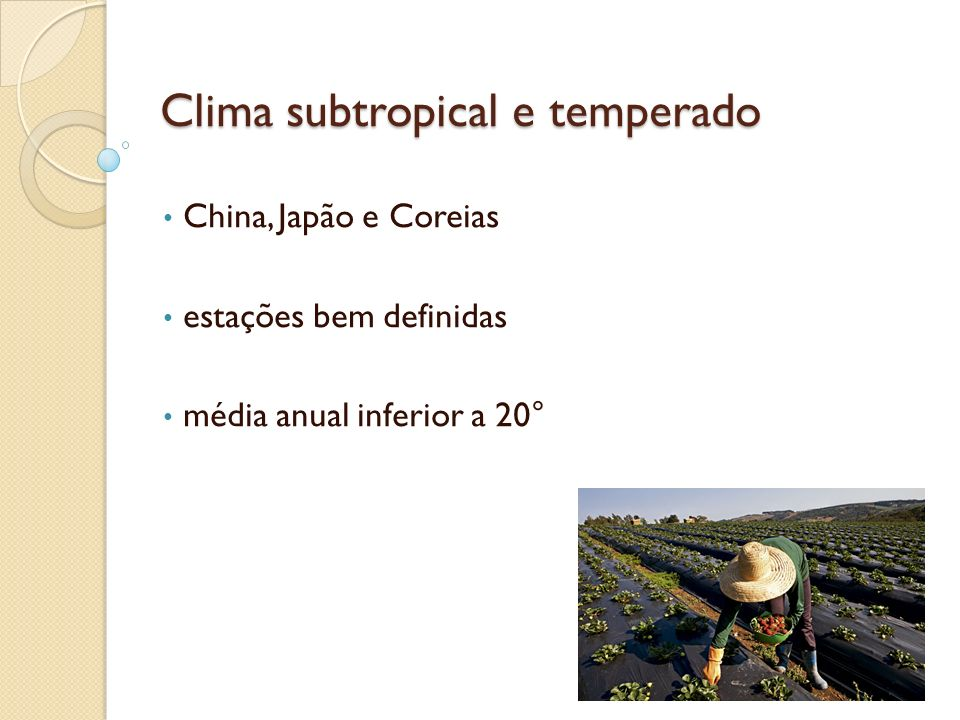 Clima subtropical e temperado