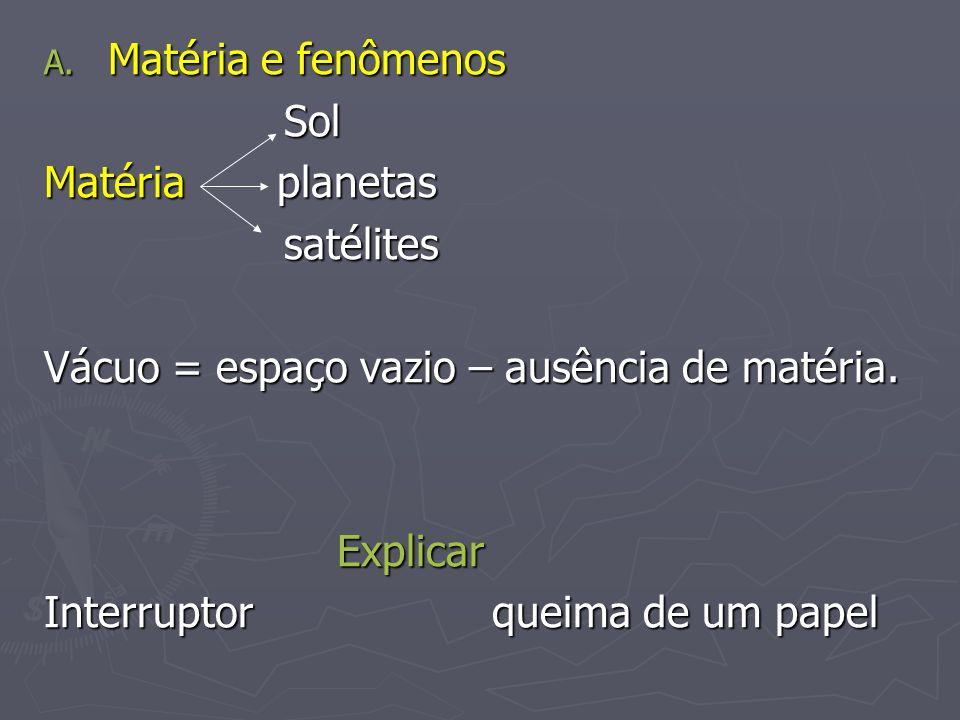 Matéria e fenômenosSol. Matéria planetas. satélites. Vácuo = espaço vazio – ausência de matéria.