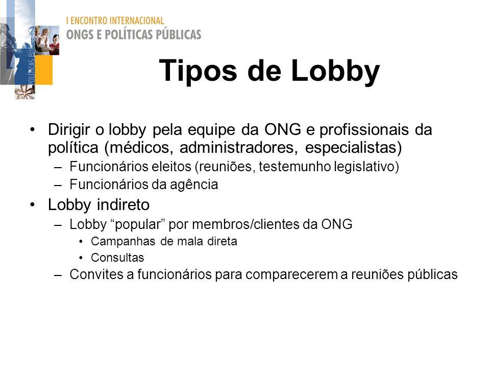 Tipos de Lobby Dirigir o lobby pela equipe da ONG e profissionais da política (médicos, administradores, especialistas)