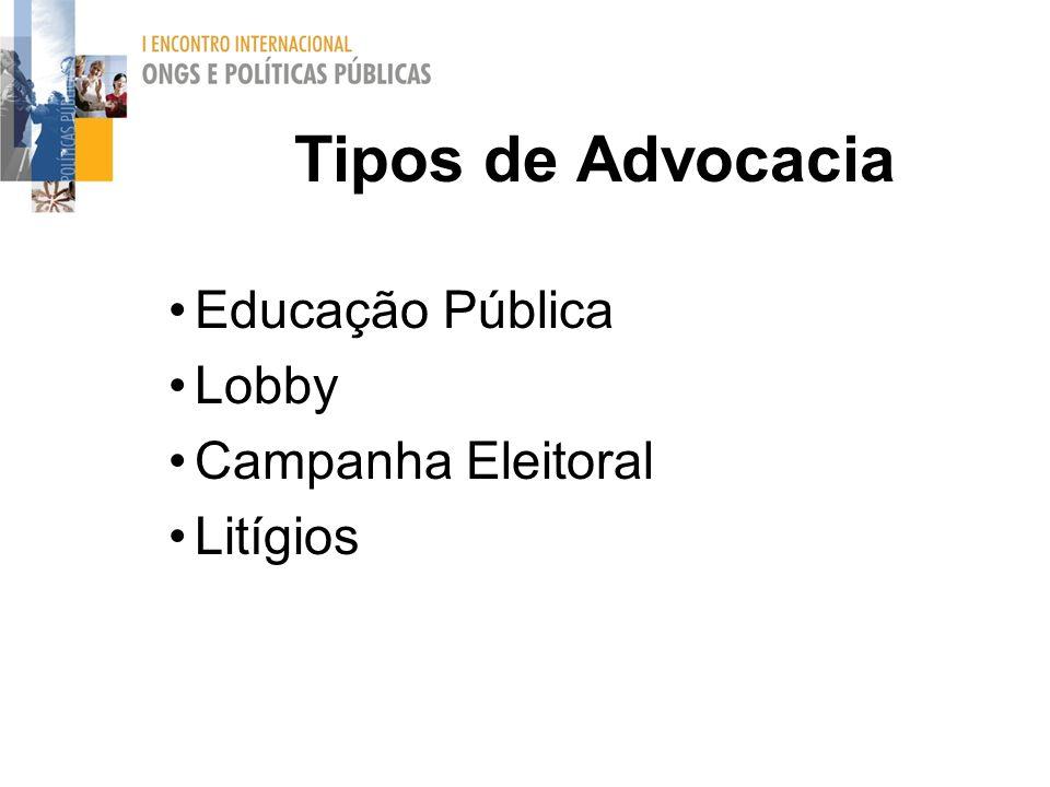 Tipos de Advocacia Educação Pública Lobby Campanha Eleitoral Litígios