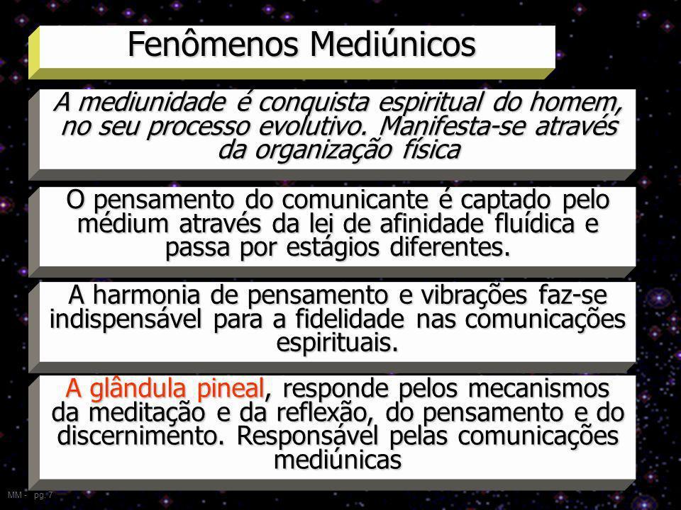 Fenômenos Mediúnicos A mediunidade é conquista espiritual do homem, no seu processo evolutivo. Manifesta-se através da organização física.