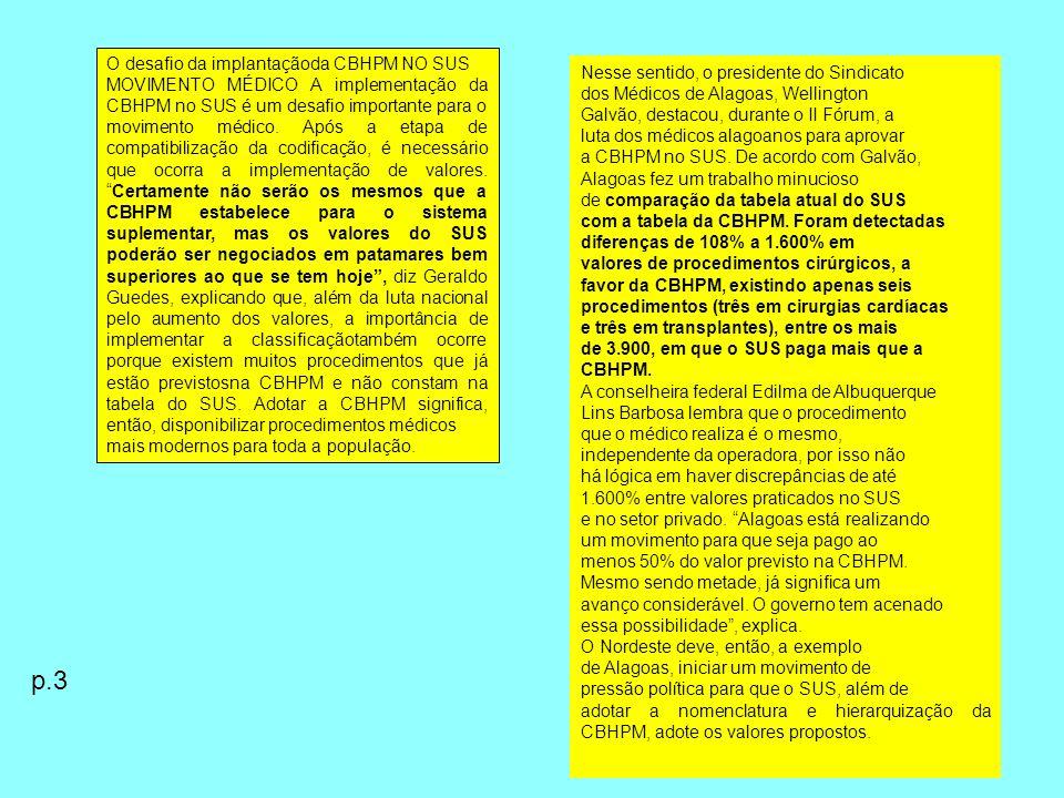 p.3 O desafio da implantaçãoda CBHPM NO SUS