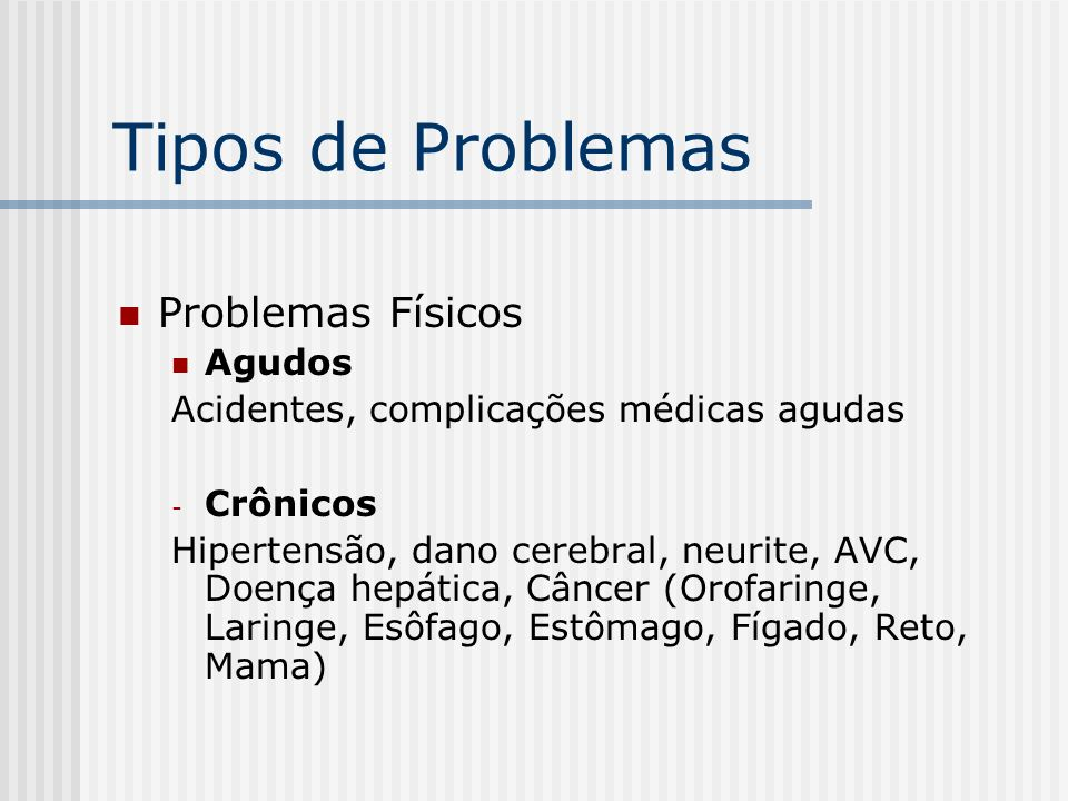 Tipos de Problemas Problemas Físicos Agudos