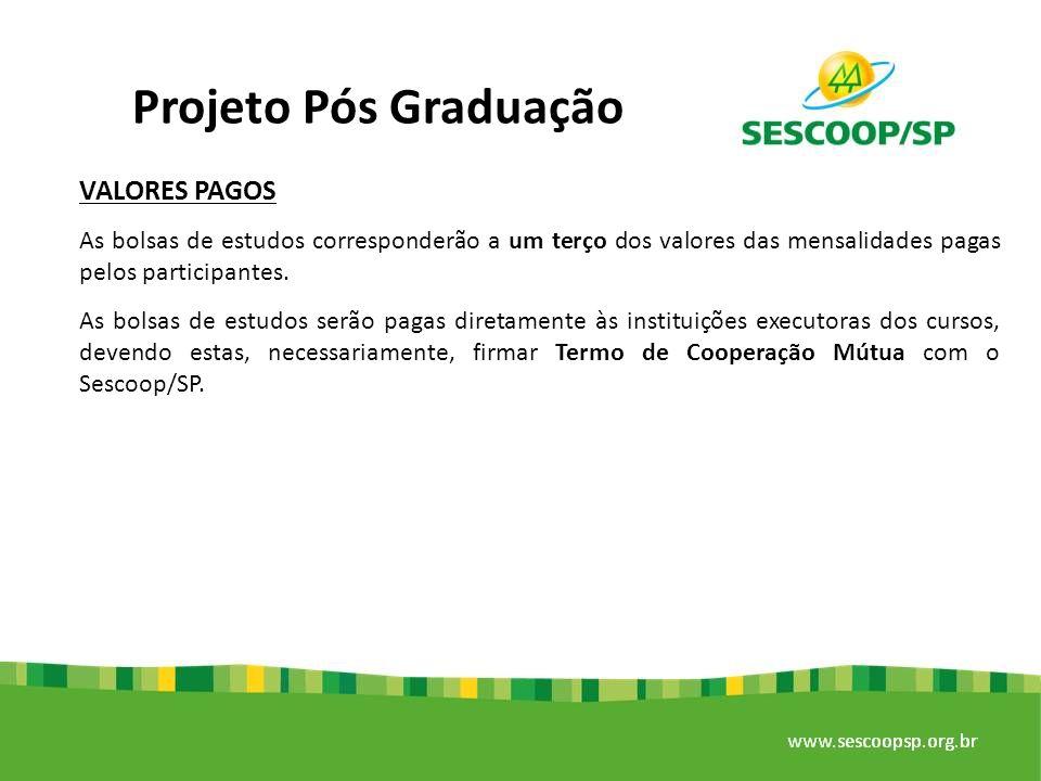 Projeto Pós Graduação VALORES PAGOS