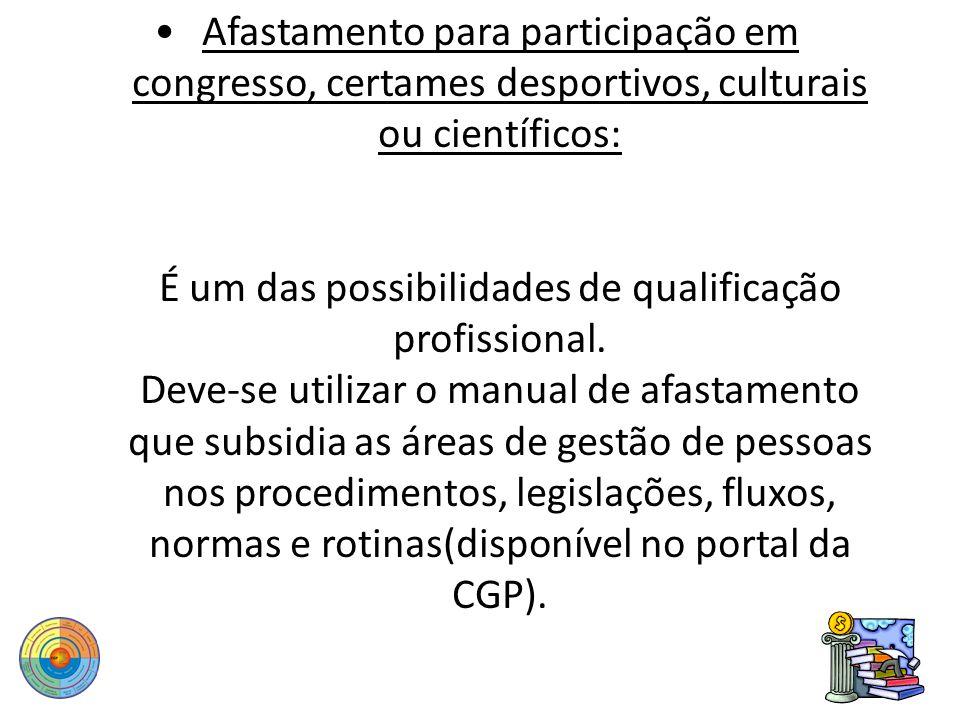 Afastamento para participação em congresso, certames desportivos, culturais ou científicos: É um das possibilidades de qualificação profissional.