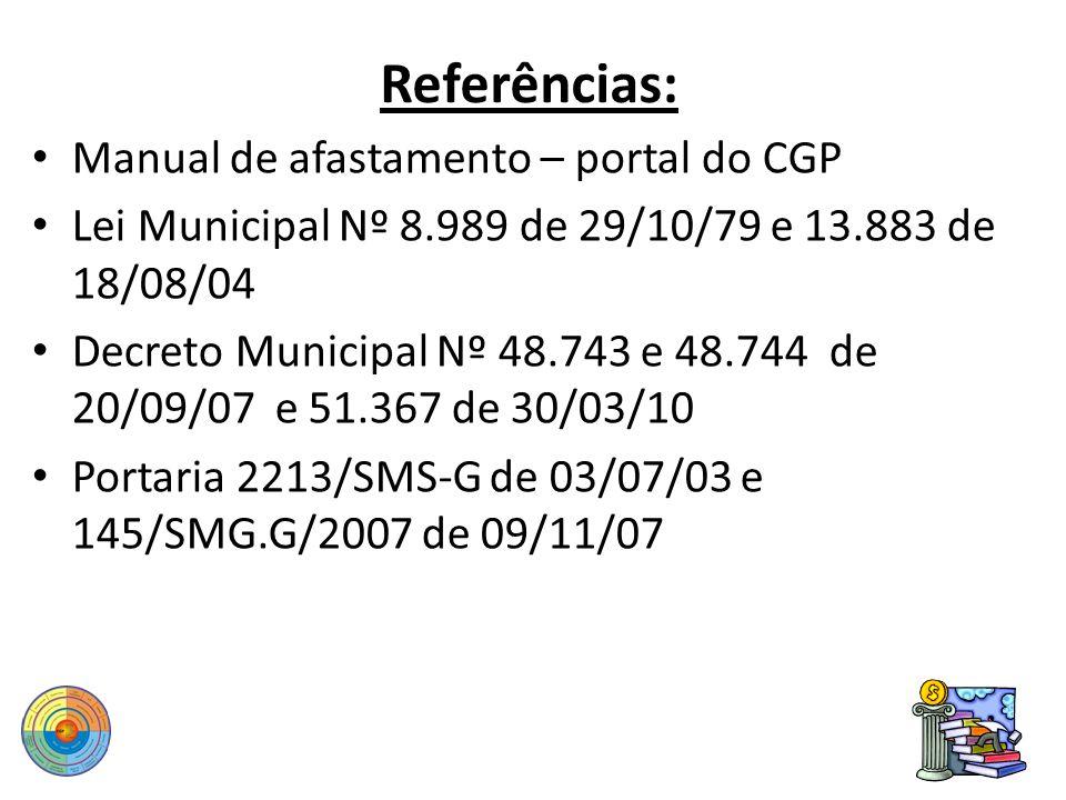Referências: Manual de afastamento – portal do CGP