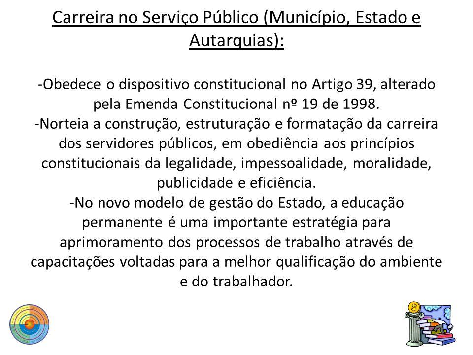 Carreira no Serviço Público (Município, Estado e Autarquias): -Obedece o dispositivo constitucional no Artigo 39, alterado pela Emenda Constitucional nº 19 de 1998.