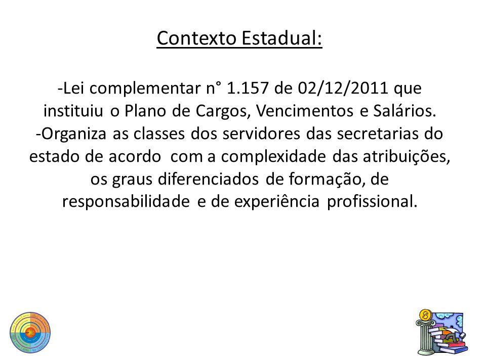 Contexto Estadual: -Lei complementar n° 1