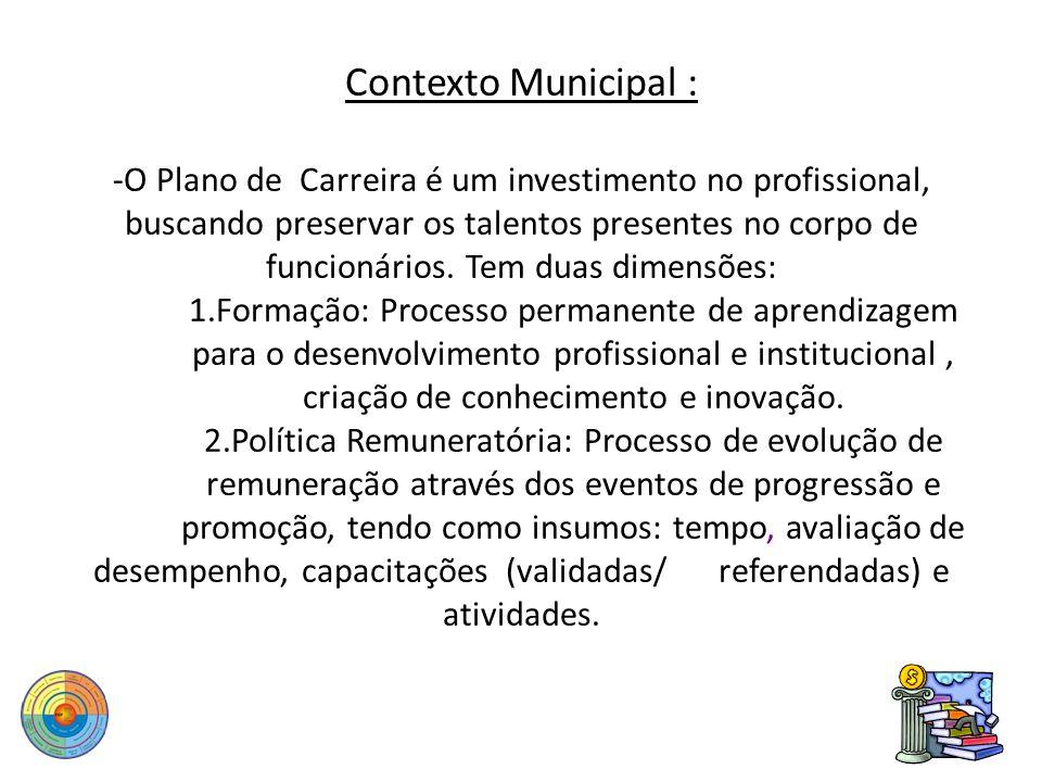 Contexto Municipal : -O Plano de Carreira é um investimento no profissional, buscando preservar os talentos presentes no corpo de funcionários.