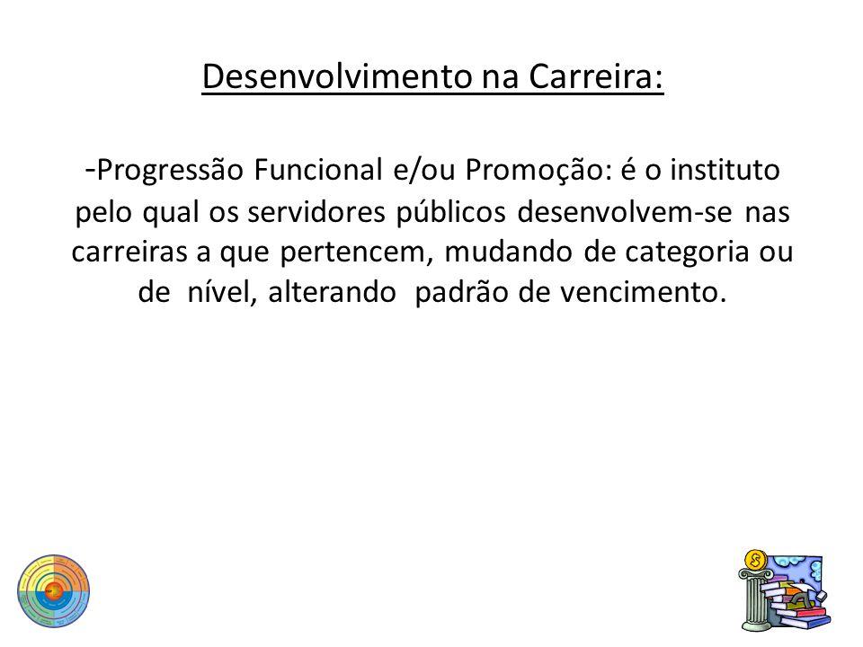 Desenvolvimento na Carreira: -Progressão Funcional e/ou Promoção: é o instituto pelo qual os servidores públicos desenvolvem-se nas carreiras a que pertencem, mudando de categoria ou de nível, alterando padrão de vencimento.