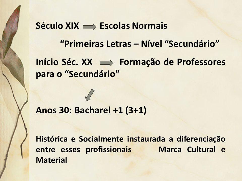 Século XIX Escolas Normais Primeiras Letras – Nível Secundário