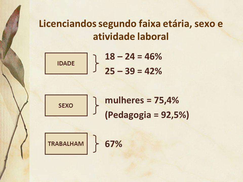 Licenciandos segundo faixa etária, sexo e atividade laboral