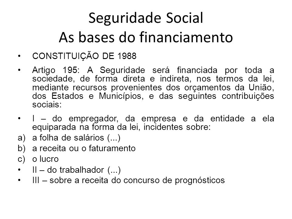 Seguridade Social As bases do financiamento