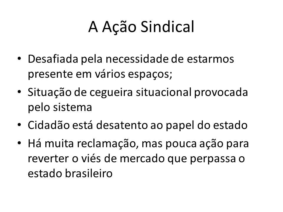 A Ação SindicalDesafiada pela necessidade de estarmos presente em vários espaços; Situação de cegueira situacional provocada pelo sistema.
