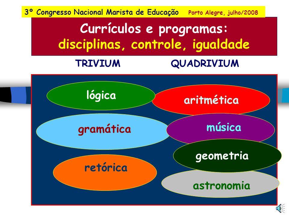Currículos e programas: disciplinas, controle, igualdade