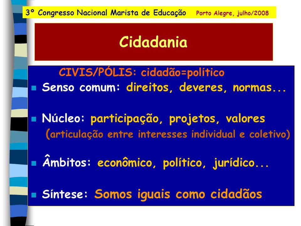Cidadania Senso comum: direitos, deveres, normas...