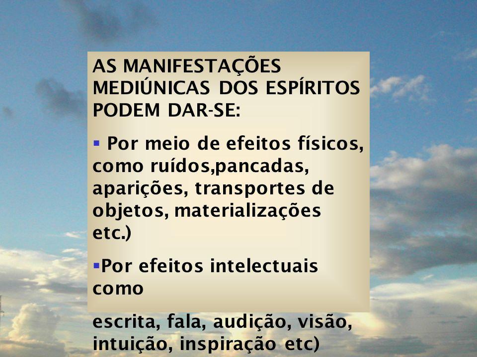 AS MANIFESTAÇÕES MEDIÚNICAS DOS ESPÍRITOS PODEM DAR-SE: