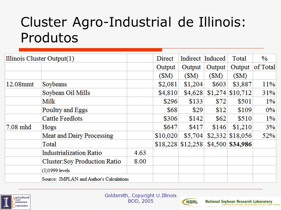 Cluster Agro-Industrial de Illinois: Produtos