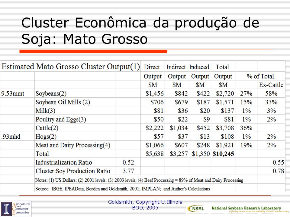 Cluster Econômica da produção de Soja: Mato Grosso