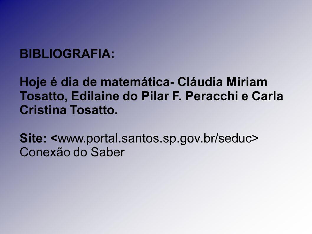 BIBLIOGRAFIA: Hoje é dia de matemática- Cláudia Miriam Tosatto, Edilaine do Pilar F. Peracchi e Carla Cristina Tosatto.