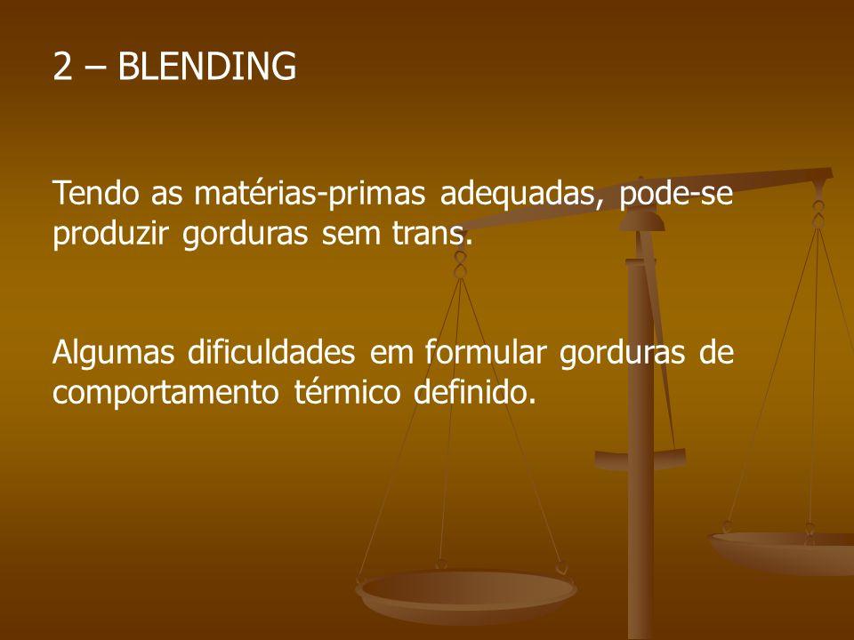 2 – BLENDING Tendo as matérias-primas adequadas, pode-se produzir gorduras sem trans.