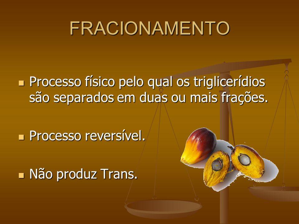 FRACIONAMENTO Processo físico pelo qual os triglicerídios são separados em duas ou mais frações. Processo reversível.