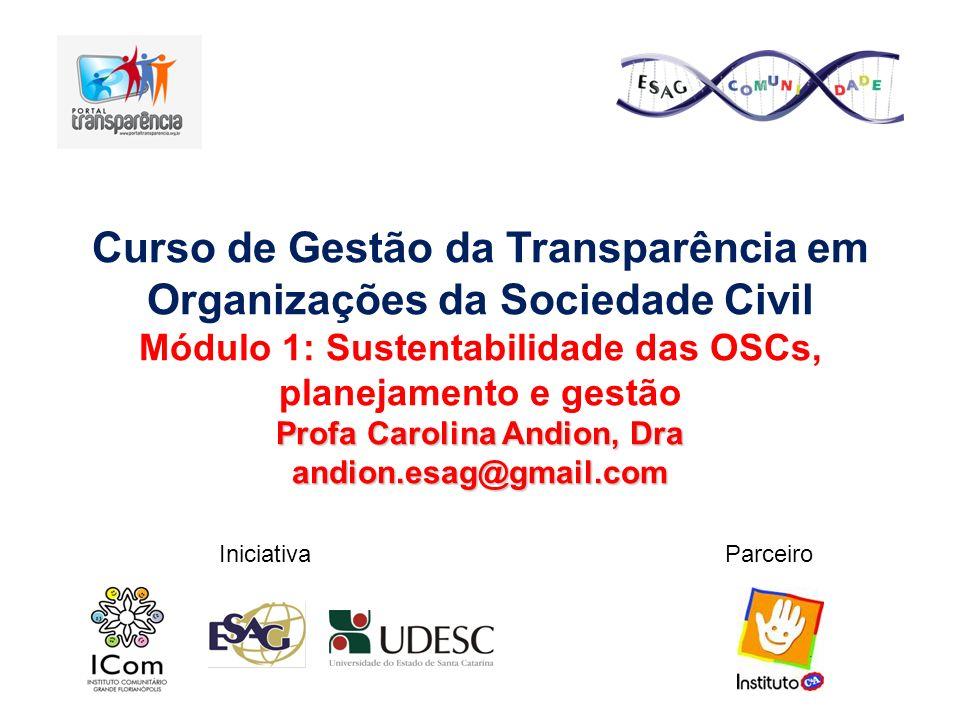 Curso de Gestão da Transparência em Organizações da Sociedade Civil