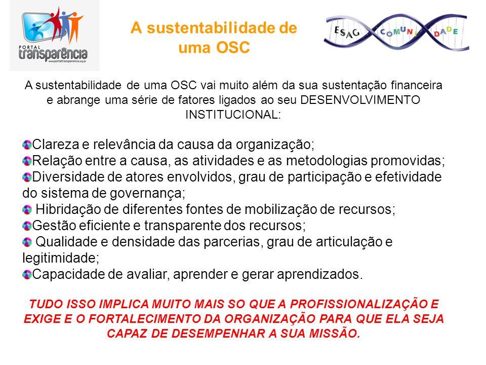A sustentabilidade de uma OSC