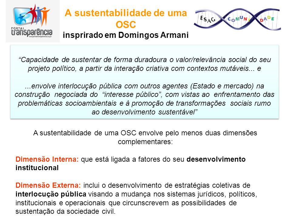 A sustentabilidade de uma OSC insprirado em Domingos Armani