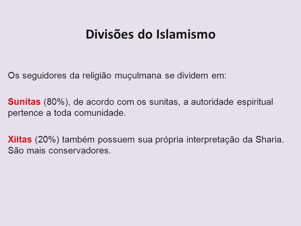 Divisões do IslamismoOs seguidores da religião muçulmana se dividem em: