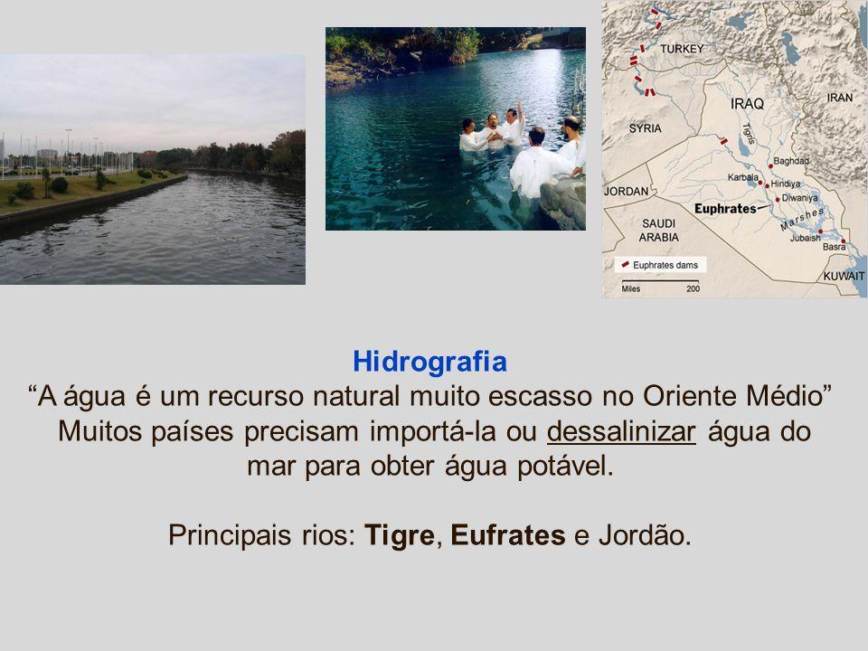 Hidrografia A água é um recurso natural muito escasso no Oriente Médio Muitos países precisam importá-la ou dessalinizar água do mar para obter água potável.