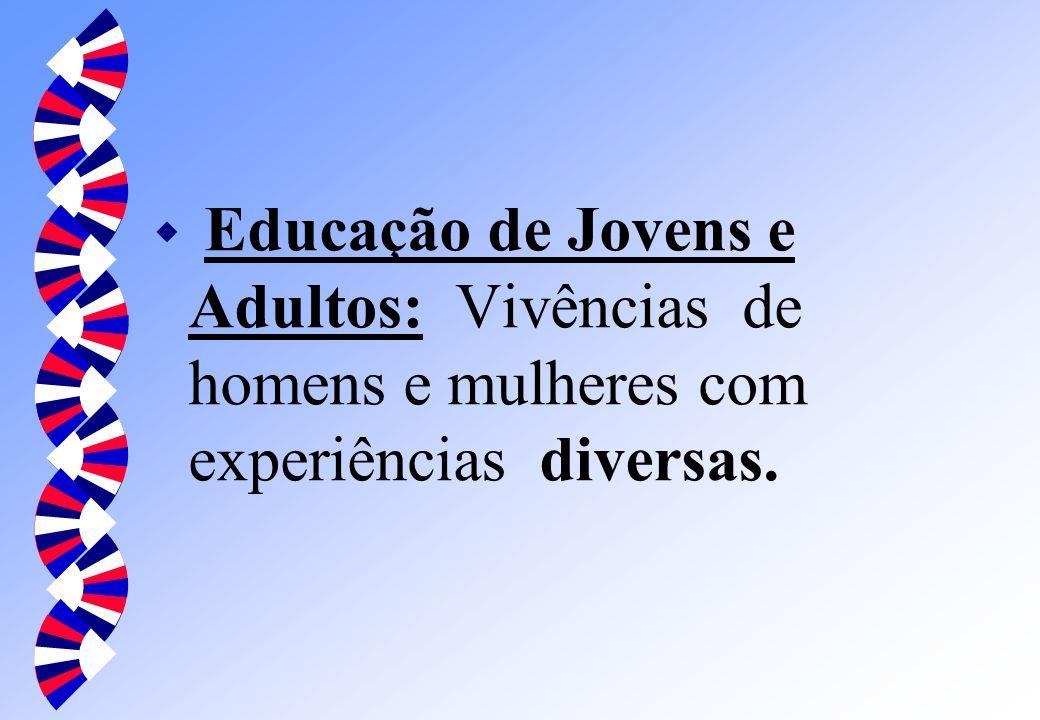 Educação de Jovens e Adultos: Vivências de homens e mulheres com experiências diversas.
