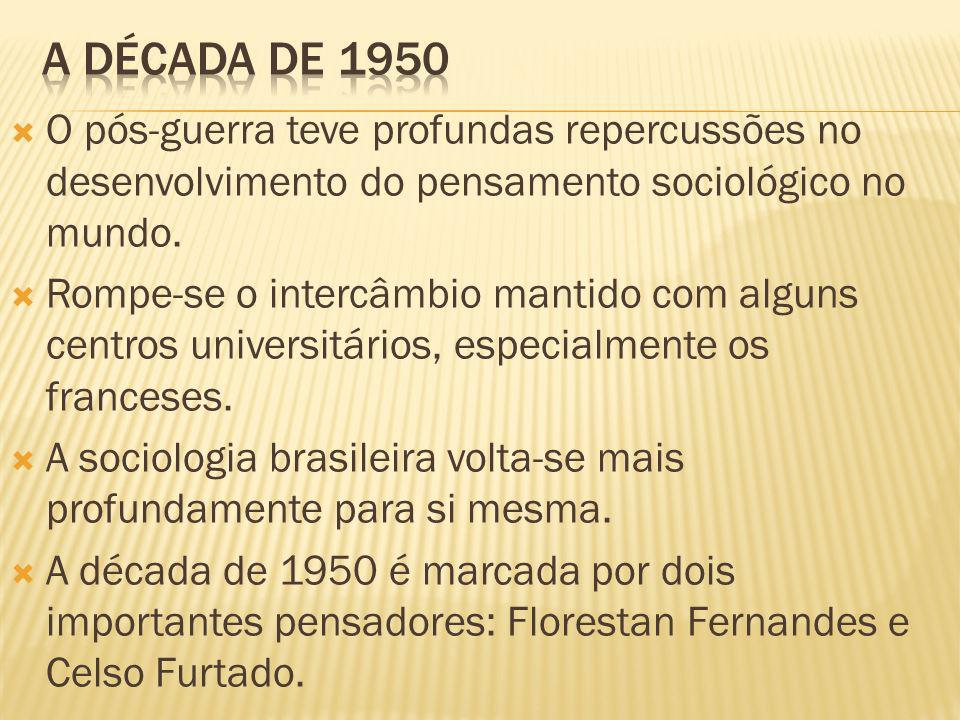 A década de 1950 O pós-guerra teve profundas repercussões no desenvolvimento do pensamento sociológico no mundo.