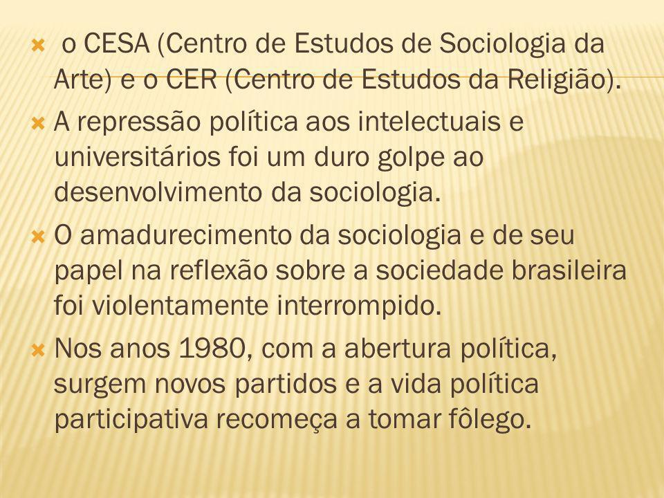 o CESA (Centro de Estudos de Sociologia da Arte) e o CER (Centro de Estudos da Religião).