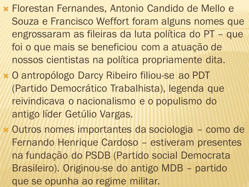 Florestan Fernandes, Antonio Candido de Mello e Souza e Francisco Weffort foram alguns nomes que engrossaram as fileiras da luta política do PT – que foi o que mais se beneficiou com a atuação de nossos cientistas na política propriamente dita.