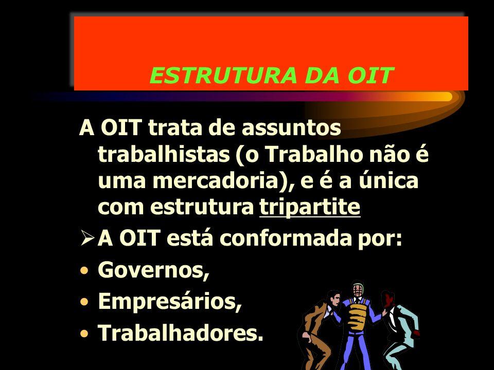 ESTRUTURA DA OIT A OIT trata de assuntos trabalhistas (o Trabalho não é uma mercadoria), e é a única com estrutura tripartite.