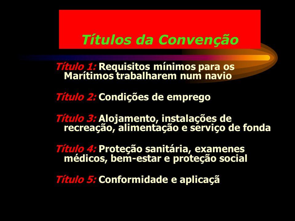 Títulos da Convenção Título 1: Requisitos mínimos para os Marítimos trabalharem num navio. Título 2: Condições de emprego.