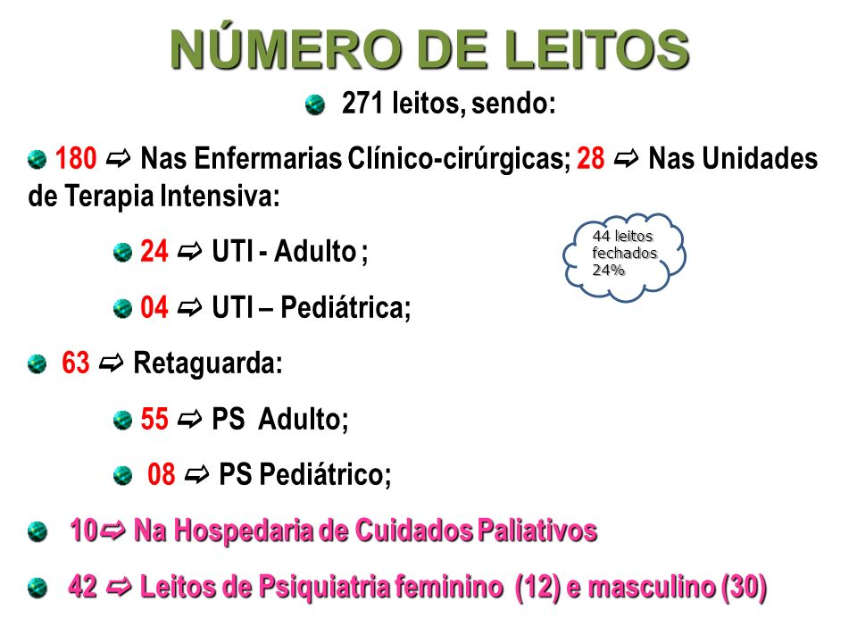 NÚMERO DE LEITOS 271 leitos, sendo: