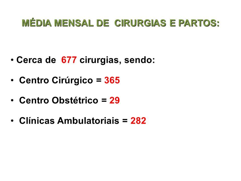 MÉDIA MENSAL DE CIRURGIAS E PARTOS:
