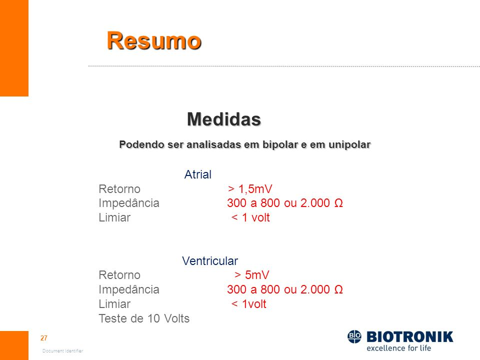 Resumo Medidas Podendo ser analisadas em bipolar e em unipolar Atrial