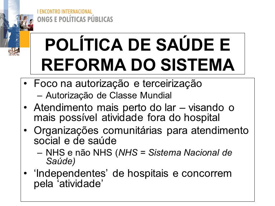 POLÍTICA DE SAÚDE E REFORMA DO SISTEMA