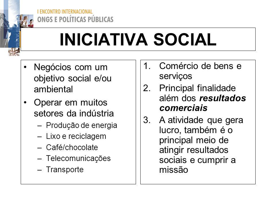 INICIATIVA SOCIAL Negócios com um objetivo social e/ou ambiental