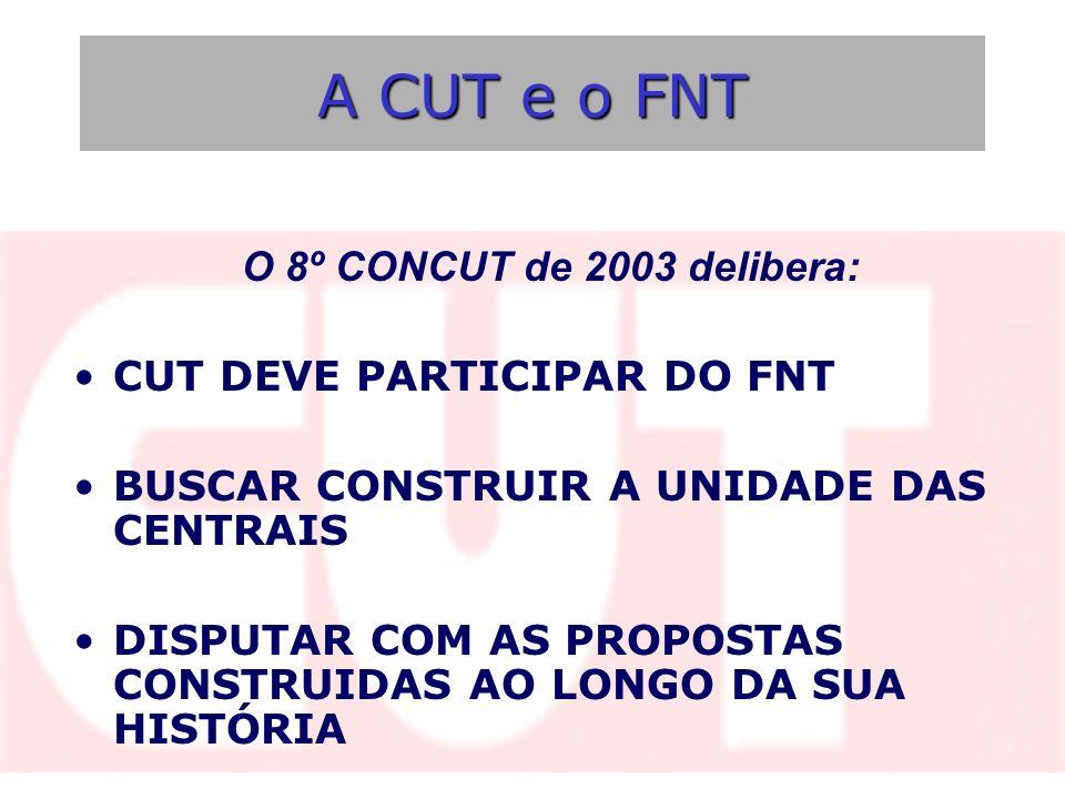 A CUT e o FNT O 8º CONCUT de 2003 delibera: CUT DEVE PARTICIPAR DO FNT