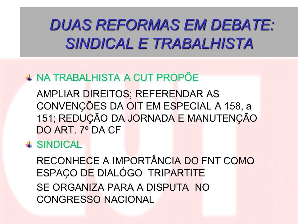 DUAS REFORMAS EM DEBATE: SINDICAL E TRABALHISTA