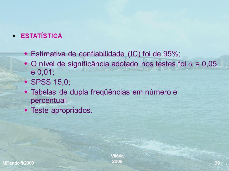 Estimativa de confiabilidade (IC) foi de 95%;