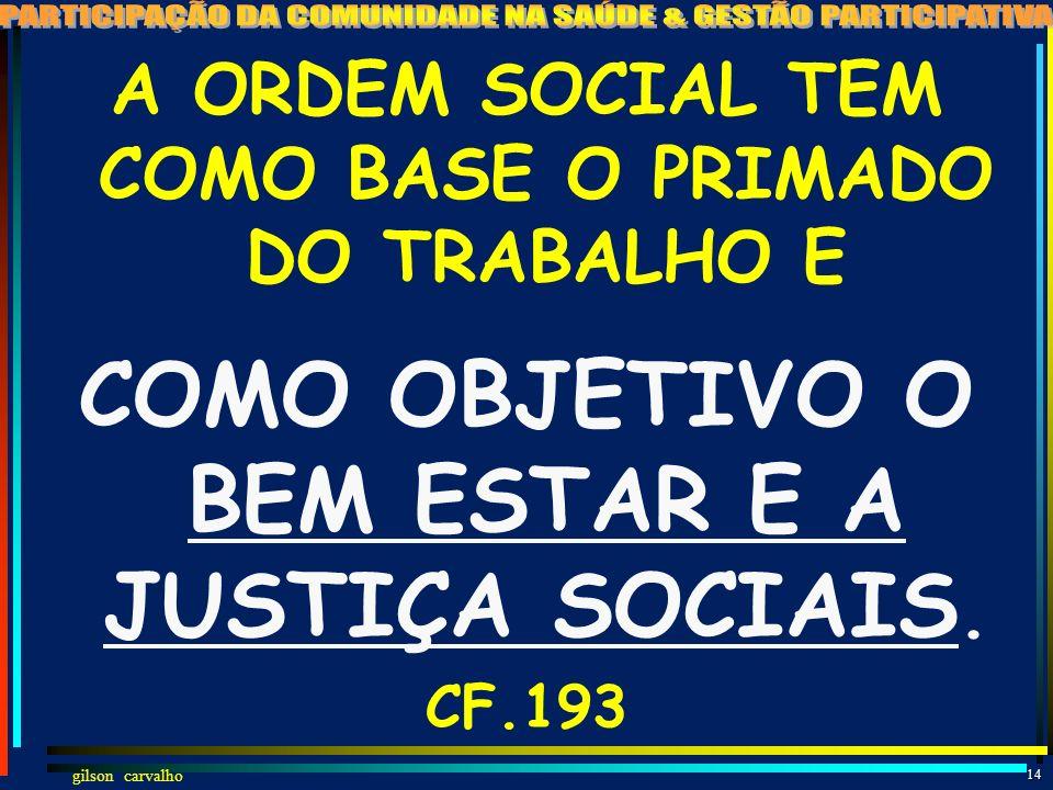 COMO OBJETIVO O BEM ESTAR E A JUSTIÇA SOCIAIS.
