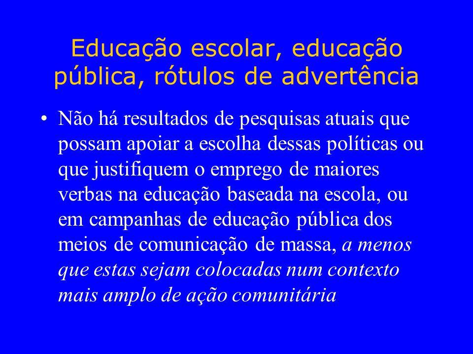 Educação escolar, educação pública, rótulos de advertência