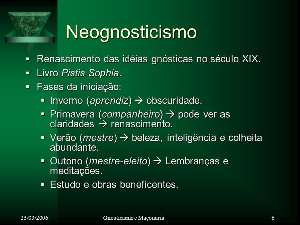 Neognosticismo Renascimento das idéias gnósticas no século XIX.