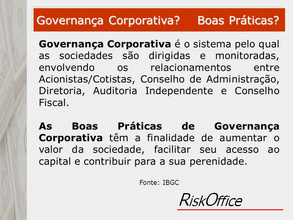 Governança Corporativa Boas Práticas